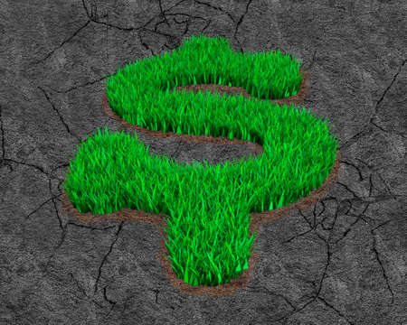 Green grass in dollar sign shape on dry gray land with cracks background, ECO and circular economy concept.