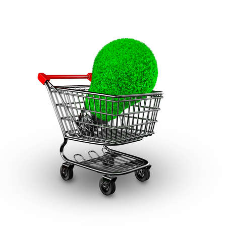 Concept of green energy, ECO and energy saving, light bulb with green grass in shopping cart, isolated on white background, 3D illustration.