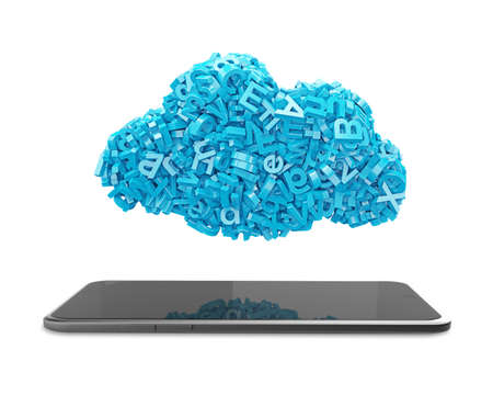 Big data and cloud computing concept. Blue letters and numbers in blue cloud shape with smart tablet, isolated on white background. 3D illustration.