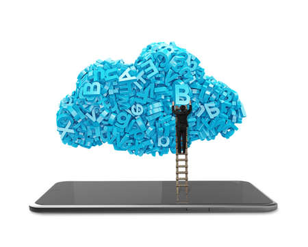Big data and cloud computing concept. Businessman climbing wooden ladder to cloud of blue letters and numbers with digital tablet, isolated on white background. 스톡 콘텐츠