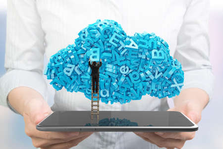 Big data and cloud computing concept. Woman hands holding digital tablet with businessman climbing wooden ladder to cloud of blue letters and numbers, front view.