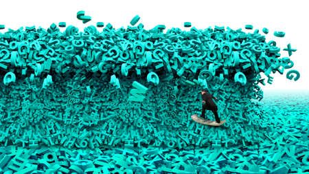 Big data driving concept. Surfing business man riding dollar bill surfboard with the tsunami wave of computer data, huge amount of numbers and letters, isolated on white background.