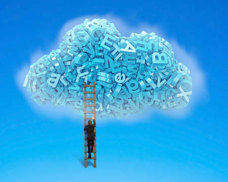 Big data and cloud computing concept.Businessman climbing wooden ladder to cloud of blue letters and numbers, isolated on blue background.