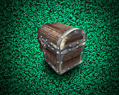 Big data, information analysis and restructuring concept. Discovering wood treasure chest hidden in huge amount of 3d green letters and numbers background, spotlight.