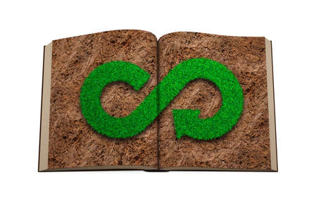 ECO and circular economy concept. Opened book with green grass in infinity recycling arrow symbol shape on brown soil page, isolated on white background, top view. 3D illustration. Reklamní fotografie