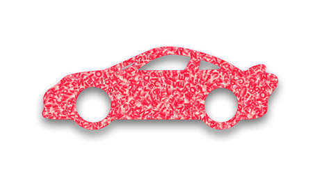 Big data application in self-driving car concept. Pink huge amount of letters and numbers in form of sport car shape, isolated on white background. 3D illustration.