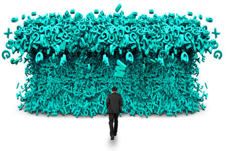 Big data concept. Rear view of businessman walking toward tsunami wave of computer data, huge amount of numbers and letters, isolated on white background.