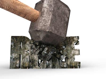 Sledgehammer smashing RULE concrete word  isolated on white background Imagens