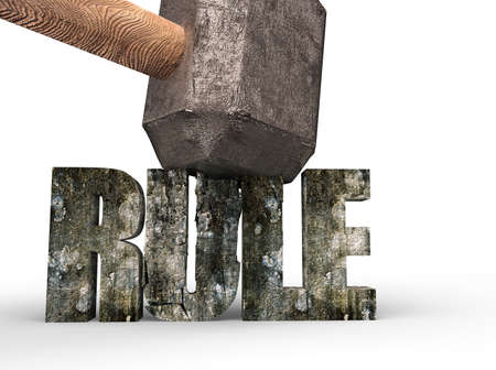 Sledgehammer about to smash RULE concrete word isolated on white background