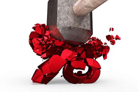Sledgehammer smashing red percentage sign isolated on white background