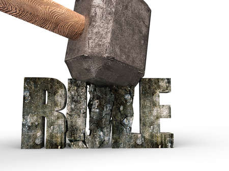 Sledgehammer smashing RULE concrete word isolated on white background Banco de Imagens