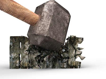 Sledgehammer smashing RULE concrete word isolated on white background Banco de Imagens - 124848276