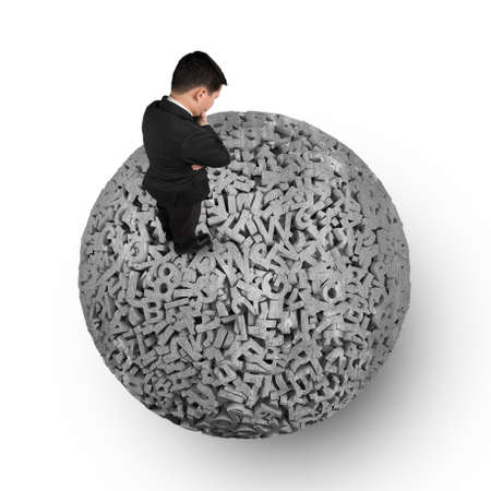 Big data concept, Thinking business man standing on huge amount 3d letters and numbers of dark grey concrete ball, isolated on white background