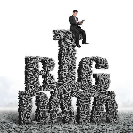 Big data, information analysis and restructuring concept. Business man sitting on gray 3D letters and numbers in BIG DATA words shape.