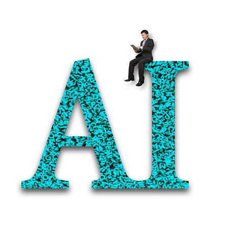 Application de données volumineuses dans le concept d'intelligence artificielle. Homme d'affaires utilisant une tablette numérique et assis sur un mot AI vert avec une énorme quantité de lettres et de chiffres texturés, isolés sur fond blanc.