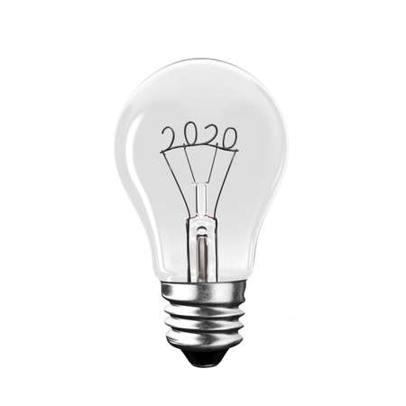Light bulb with 2020 wire shape, isolated on white background, front view, 3D illustration.