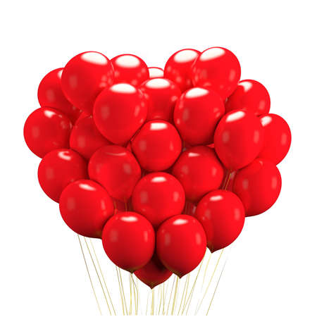 Bunch of bright red balloons arranged in heart shape floating, gift for love, on white background. 3D rendering
