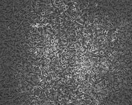 Big data concept, huge amount of 3d dark grey concrete letters and numbers for background texture, 3D illustration. Banco de Imagens