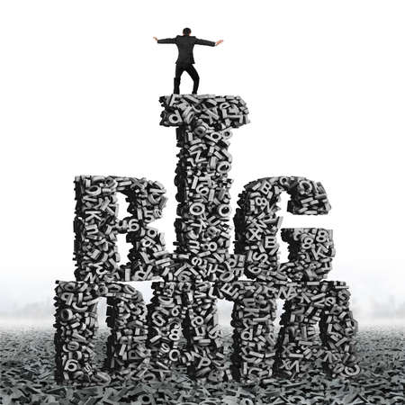 Big data, information analysis and restructuring concept. Standing business man try to balance on gray 3D letters and numbers in BIG DATA words shape.