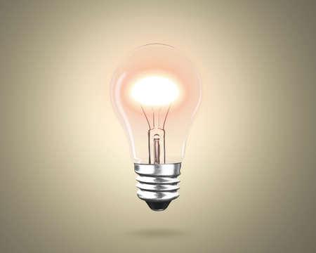One light bulb with bright yellow light to illuminate dark background, 3D rendering. Banco de Imagens