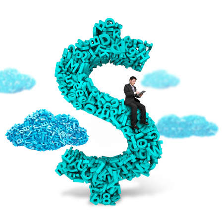 Big data, information analysis and restructuring concept. Business man sitting on dollar sign money symbol of huge amount 3d letters and numbers with blue big data clouds, isolated on white background. Stok Fotoğraf