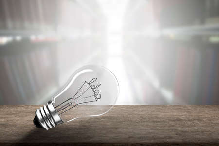 Light bulb with Idea word wire shape on wooden table, isolated on bookcases blur background. Banco de Imagens