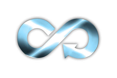 Circular economy concept. Blue sheet metal in arrow infinity recycling symbol with light sweep effect, isolated on white background. 3D illustration.