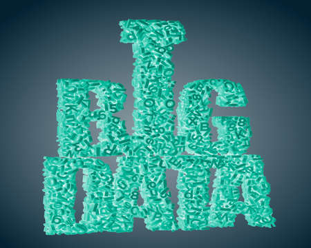 Big data concept. Green 3D letters and numbers in BIG DATA words shape, isolated on dark blue background. 3D rendering.