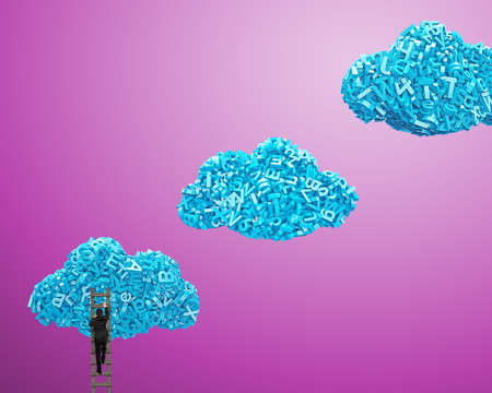 Big data and cloud computing concept. Businessman climbing wooden ladder to blue clouds of 3d letters and numbers, isolated on purple background.