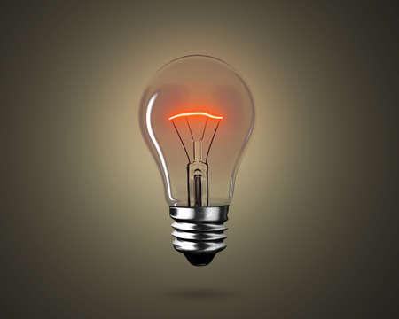One lightbulb with red wire yellow light to illuminate dark background, 3D rendering.
