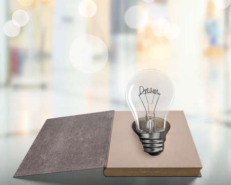 Opened old book with Dream word wire shape of light bulb on wooden table, isolated on blur background.