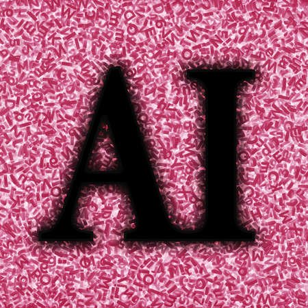 Big data application in artificial intelligence concept. Black AI word with huge amount of red letters and numbers background, 3D illustration.