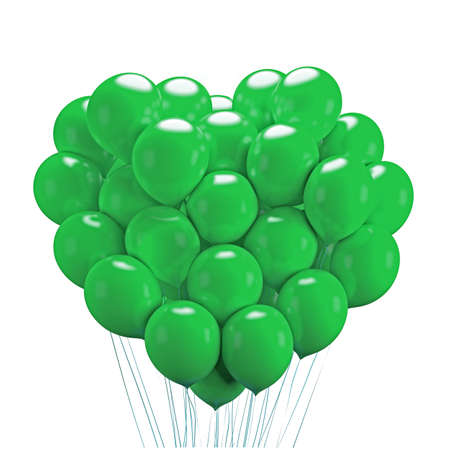 Bunch of bright green balloons arranged in heart shape floating, gift for love, isolated on white background. 3D rendering
