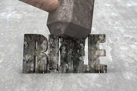 Sledgehammer hitting RULE 3d concrete word cracked on concrete floor background. Concept of breaking convention and impossible, change and innovation.