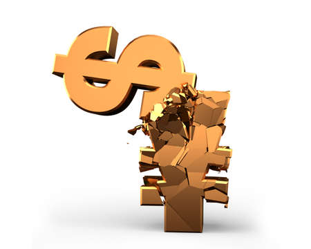 Foreign trade war issue,  USD vs. RMB, two gold currency symbols fighting and smashed, isolated on white. 3D rendering.