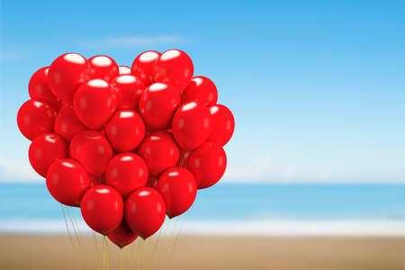 Bunch of bright red balloons arranged in heart shape floating, gift for love, with blue sky sea sandy beach background.
