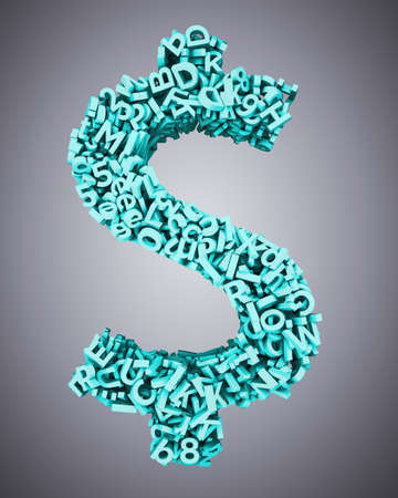 Big data, information analysis and restructuring concept, huge amount of blue green 3d letters and numbers in dollar sign money symbol shape, isolated on gray backgroudn. 3D illustration.