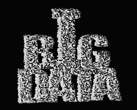 Big data concept. Gray 3D letters and numbers in BIG DATA words shape, isolated on black background. 3D rendering. Banco de Imagens