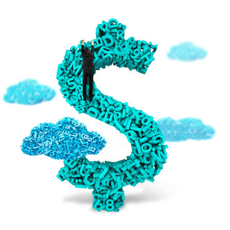 Big data, information analysis and restructuring concept. Climbing businessman hang on dollar sign money symbol of huge amount 3d letters and numbers with blue big data clouds, isolated on white background. Banco de Imagens