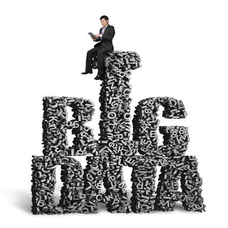 Big data, information analysis and restructuring concept. Business man sitting on gray 3D letters and numbers in BIG DATA words shape, isolated on white background.