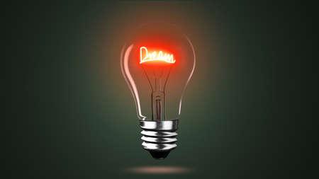 Lighting bulb lamp of dream words with bright light illuminating black dark background, 3D rendering, macro view. Banco de Imagens