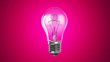 Lighting bulb lamp with heart shape isolated on pink background, 3D rendering, macro view