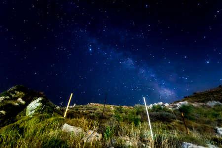 A view of a Meteor shower and the Milky Way with trees silhouetted in the foreground. Night sky nature summer landscape. Perseid Meteor Shower observation. Stock Photo