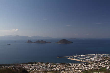 Seaside town of Bodrum and spectacular sunsets. bird`s eye view