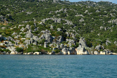 Flooded ancient Lycian city as a result of the earthquake city. Near the city of Simena in the vicinity of Kekova Turkey. Stock Photo