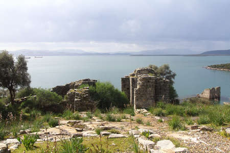 Ruined and restored castle at Iasos Turkey on the Aegean Sea near Bodrum
