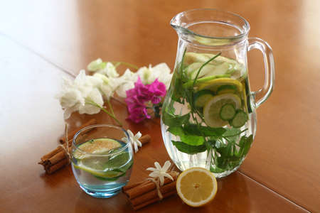 Health care, fitness, healthy eating concept. Fresh cool lemon cucumber drink with water, cocktail, detox drink, lemonade in a glass jug and a glass.