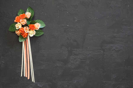 bouquet of flowers on blackboard. Beautiful Floral background with copy space. Banco de Imagens