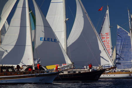 Bodrum, Turkey, 27 October 2018: Bodrum Sailing Cup, Gulet Wooden Sailboats and sailing yachts racing. Foto de archivo - 160784580
