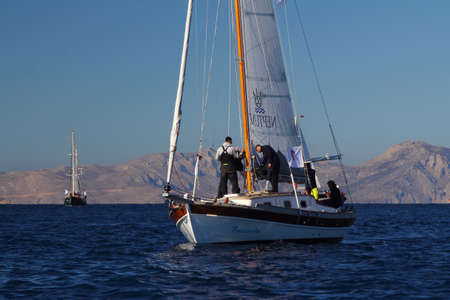 Bodrum, Turkey, 27 October 2018: Bodrum Sailing Cup, Gulet Wooden Sailboats and sailing yachts racing.